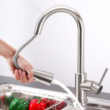 Brushed Nickel Pull Out Spray Kitchen Sink Faucet Swivel Single Hole Mixer Tap