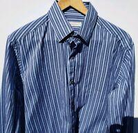 Ermenegildo Zegna Mens Striped Button Down Shirt Size Large Blue Black White