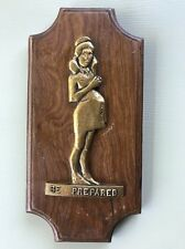 """Vtg """"Be Prepared"""" Wall Plaque Art from George Adams Pregnant Girl Scout Poster"""