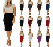High Waist Stretchy Bodycon Cotton Fitted Midi Knee Length Office Pencil Skirt