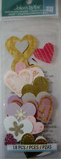 NEW 18 pc PINK & GOLD HEARTS Glitter Designs Red  Heart JOLEE'S 3D Stickers