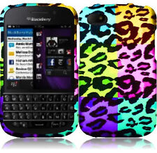 For BlackBerry Q10 Rubberized HARD Case Snap On Phone Cover Colorful Leopard