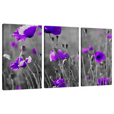 Set of Three Part Purple Floral Canvas Wall Art Pictures Bedroom 3136