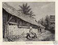 Antique print huis house Bedar Alam VOC Sumatra 1879