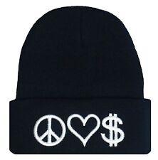 NEW PEACE LOVE & MONEY 3D EMBROIDERY BEANIE SKULL CAP HIP HOP HAT BLACK