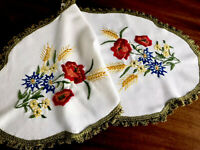 Vintage Hand Embroidered WHITE WOVEN COTTON Table Centre Runner Cloth 40x18 Inch