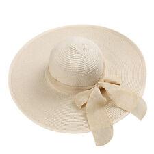 Beige Women's Floppy Wide Brim Summer Beach Straw Sun Hat Roll-up Bow Cap
