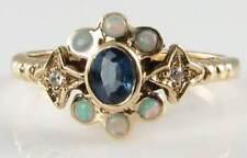 SUN MOON STARS 9 KT 9K oro ART DECO INS Blu Zaffiro Opale Anello di diamanti