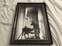 """Surreal Deer, Creepy Hand, Mysterious Doorway, B&W Noir Framed Art Print 12""""X18"""""""