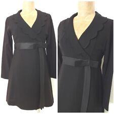 Vintage 60s Little Black Dress Size Small Mini Empire Waist Wrap Satin Lolita