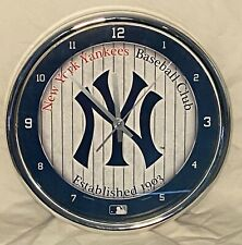 New York Yankees Chrome Plated Wall Clock - Rare Collector's Item