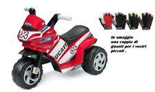 MINI DUCATI MOTO BIMBO TRICICLO PEG PEREGO ROSSO 6 VOLT+ GUANTINI IN OMAGGIO