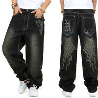 Plus Size Mens Jeans Hip Hop Skateboard Trousers Embroidery Loose Black W30-W46