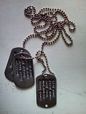 vietnam/Korea type custom debossed to your spec full 3 dog tag set with chains,
