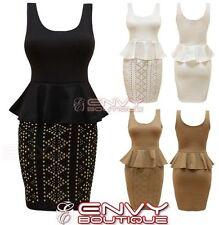 Knee Length Petite Sleeveless Peplum Dresses for Women