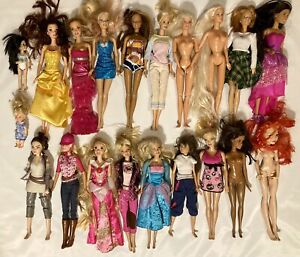 20 Mattel Barbie Lot Dolls Some With Clothes Mostly 1999-2000's + A Few Vintage