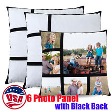10pcs Sublimation Blank 6 Photo Panel Pillow Covers With Black Back 40x40cm