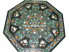 3'x3' Marble Dining Table Top Malachite Floral & Birds Inlay Garden Decors H5670