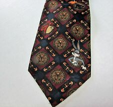 Looney Tunes Necktie Bugs Daffy Marvin Wile E. Coyote Diamond Medallion Pattern