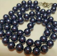 """18"""" Dark Blue South Sea Shell Pearl Necklace 8mm Beads Hand Knotted AAA"""