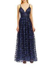 Nicole Miller V Neck, Empire Waist Midnight Blue Evening Ball Gown Dress Size 8