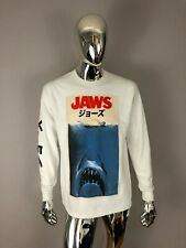 New Jaws Long Sleeve White Graphic T Shirt Size M