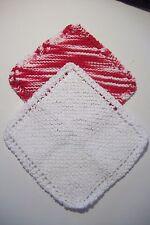 "2 hand knit 100% cotton dishcloths approx 8"" square white/ red,white vari"