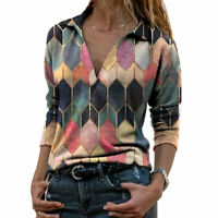 Spring V Neck T-shirts Long Sleeve Slim Geometric Print Tunic Pullover Tops Tee^