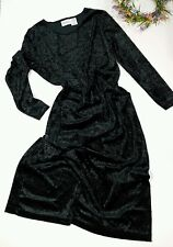 New Visions L 12/14 HUNTER GREEN Crushed Velvet Maxi Dress Mori Girl Grunge Vtg?