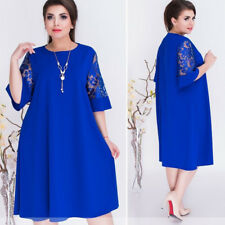 US Loose Dress Plus Size Women Solid Short Sleeve Lace Stitching Knee Length