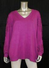 LANE BRYANT NEW Berry Purple Crochet Appliques V-Neck Sweater Plus sz 18/20W