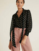 M&S Collection Black Gold Polka Dot Pussy bow Puff Sleeve Blouse Size 10 BNWT
