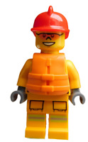 Lego Feuerwehrmann mit Schwimmweste orange Minifigur Feuerwehr Mann cty0974 Neu