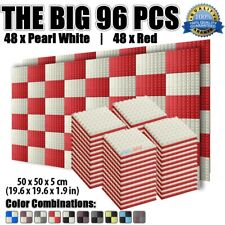 New 96 pcs Pack Red and Pearl White Pyramid Soundproof Acoustic Foam 50*50*5cm