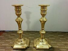 """Solid Brass Valsan Candlesticks Pair Made in Portugal 7 1/2"""" tall"""