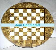 """18"""" Marble Chess Table Top Inlay Tiger Eye Room Decor children game"""