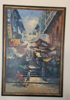 Chinese Street Scene Original Midcentury 1960 Vintage Painting, Signed  Ming