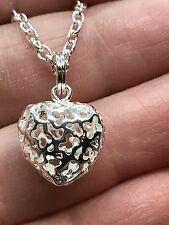 "Heart Small Filigree Hollow Charm Tibetan Silver 18"" Necklace D560"