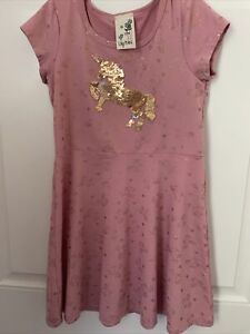 NWOT LILY BLEU Girls Pink Dress with Sequins Unicorn  Size 6X