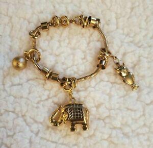 18K White Gold Plated Elephant Owl Charms Good Luck Bracelet