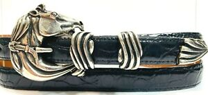 LAI Genuine Alligator Lady's Belt with Silver Plated Equestrian Horse Buckle Set