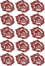 """Gothic Framed Heart 5"""" X 3.5"""" Card 15 pcs 1-1/4"""" Red Fused Glass Decals 1107"""