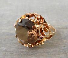 Antiker Ring Goldschmiedearbeit mit einem Rauchquarz aus 585 Gold (gestempelt)