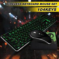 Desktop Computer Gaming Keyboard Mechanical Feel Led Light Backlit Mouse Pad Set