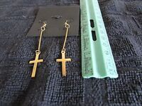 Cross Shoulder Duster Dangle Earrings with Fishhook Backs Yellow Gold Plated NEW