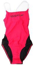 Speedo Elate One Piece Womens Swimsuit Pink & Black UK 30 Inch Chest