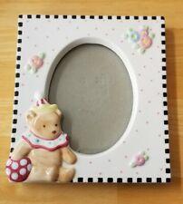 Mary Engelbreit Ceramic Frame Picture Photo Teddy Bear E 00001Bc8 gg Flowers Polka Checked