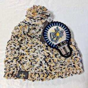 New Orleans Saints Chunky Knit Light Up Logo Beanie Winter Hat Toque Pom Women's