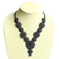 "NE114 Elegant Sunset Crystals Czech Glass Basket Weave Necklace Magnet Clasp 22"""