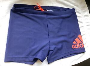 New Adidas Blue & Orange Mens 34 Infinitex Dive Boxer Trunks Swimming UPF 50+